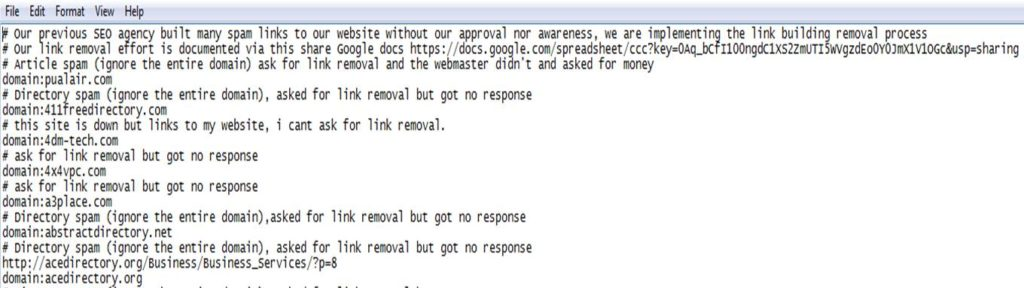 link disavow file example