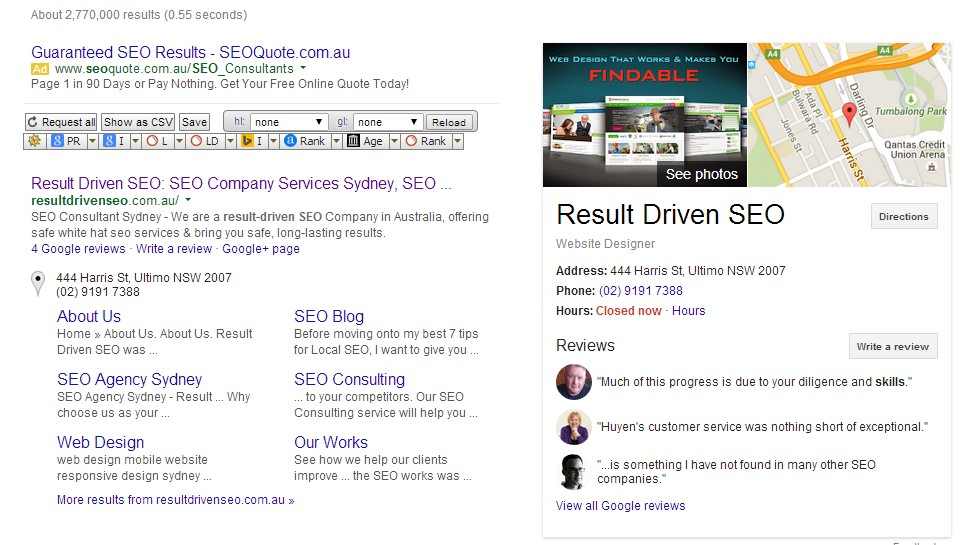 result driven seo knowledge graph