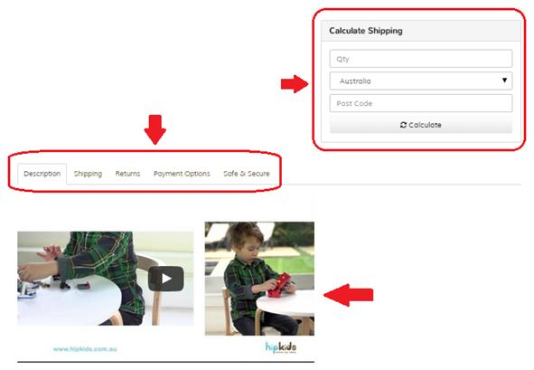 Ecommerce website content - Product page