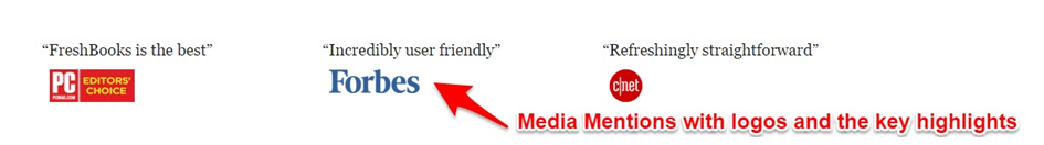 Homepage Optimization - Media mentions with excerpts that highlight key selling points