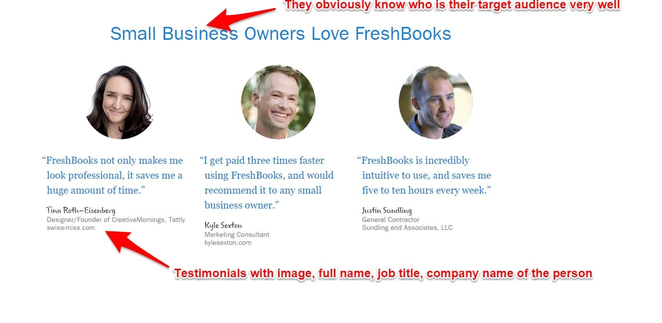 Homepage Design - Testimonials with real photos