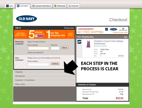 Mobile user experience design - One page Checkout