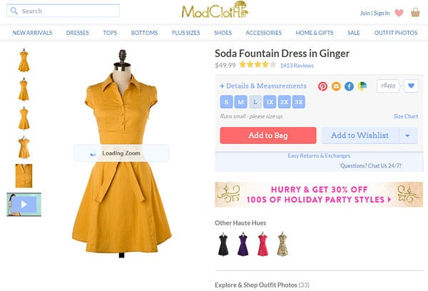 Product images on mobile landing page examples