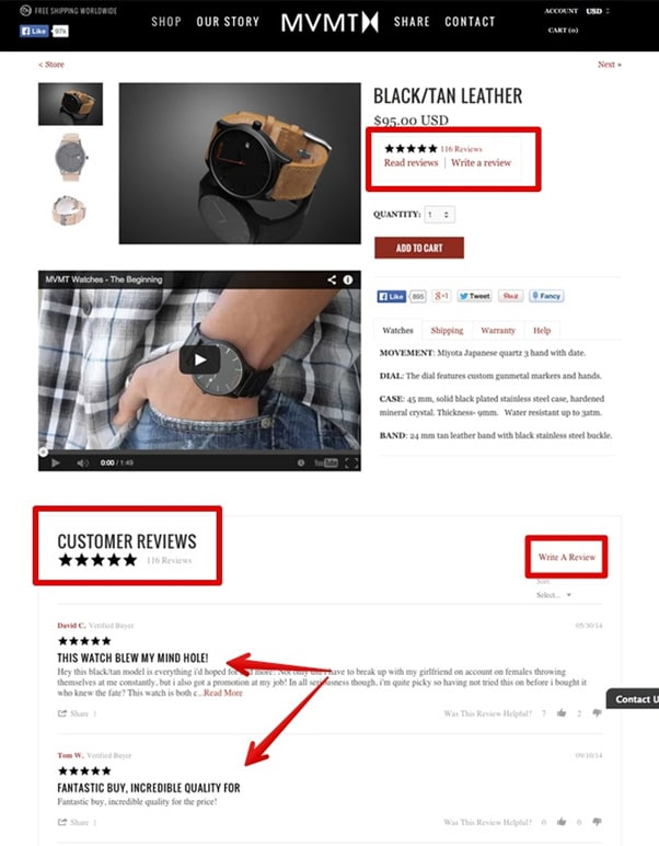 Product Review - Mobile Ecommerce Layout