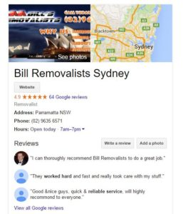 Bill Removalists Sydney Reviews