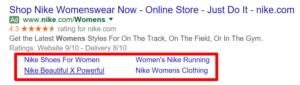 Example of Google Ads sitelink extensions