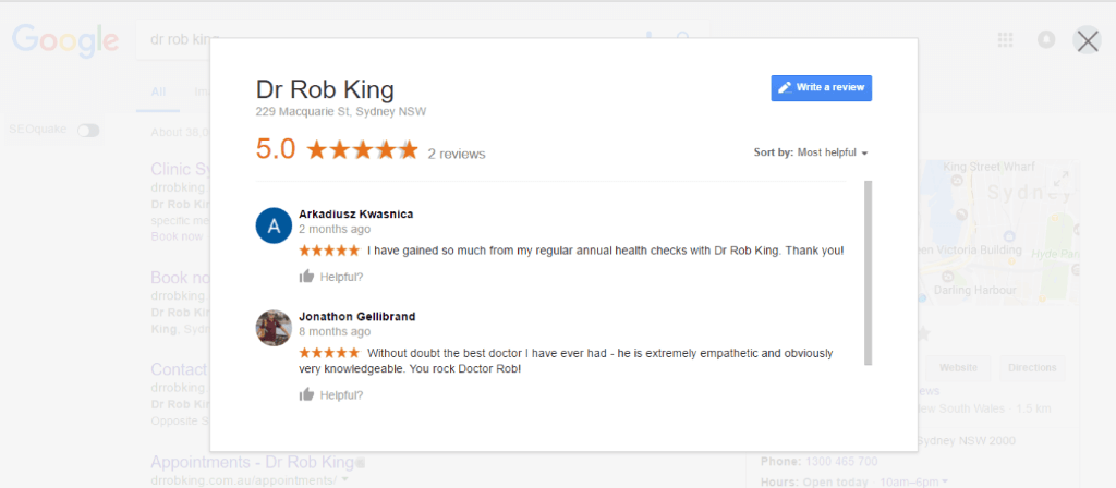 Authentic reviews help Dr Robert K convert visitors to leads better