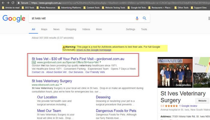 Utilised Google AdWords to promote GVH's special offer and acquire new clients
