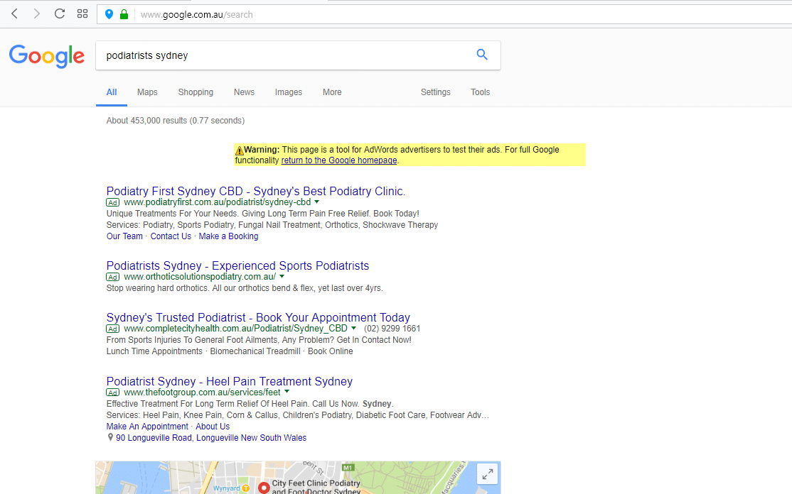 local keywords page in Google ads