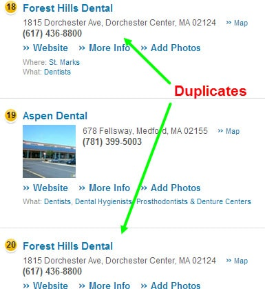 duplicate business local listing